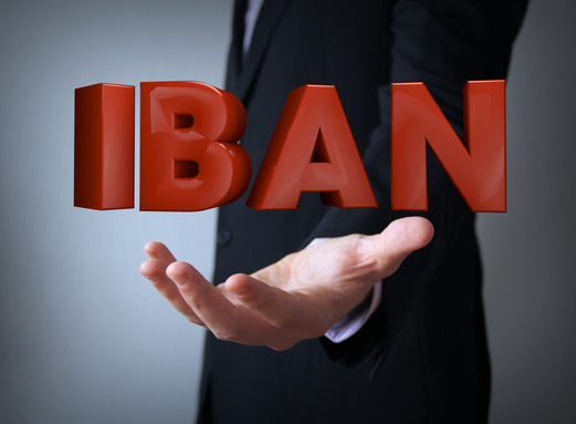 iban text over businessman